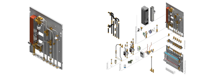 Wohnungsstationen für Heizung und Trinkwasser Therm T von PEWO. Als Basismodul und Explosionszeichnung mit Optionen